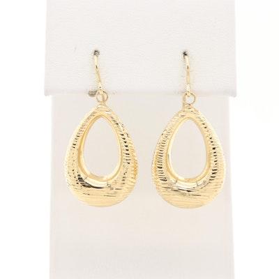 14K Yellow Gold Diamond Cut Earrings
