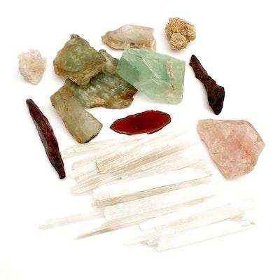 Minerals Including Selenite, Desert Rose, Quartz, and More