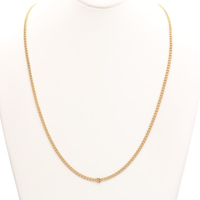 Gold Tone Curb Chain Link Necklace