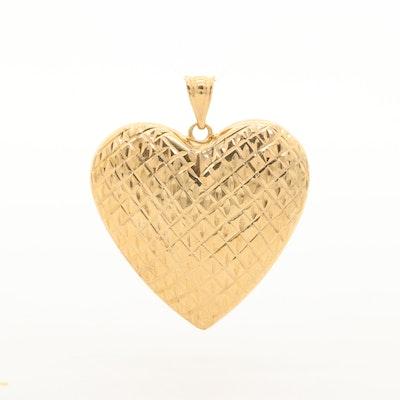 10K Yellow Gold Puff Heart Pendant with Diamond Cut Motif