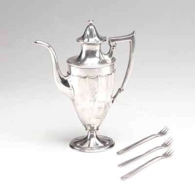 Bigelow-Kennard & Co. Sterling Silver Coffee Pot with Silver Plate Oyster Forks
