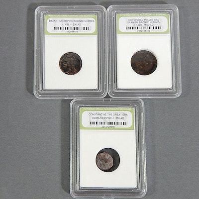 Byzantine, Constantine, and New World Pirate Era Bronze Nummis Ancient Coins