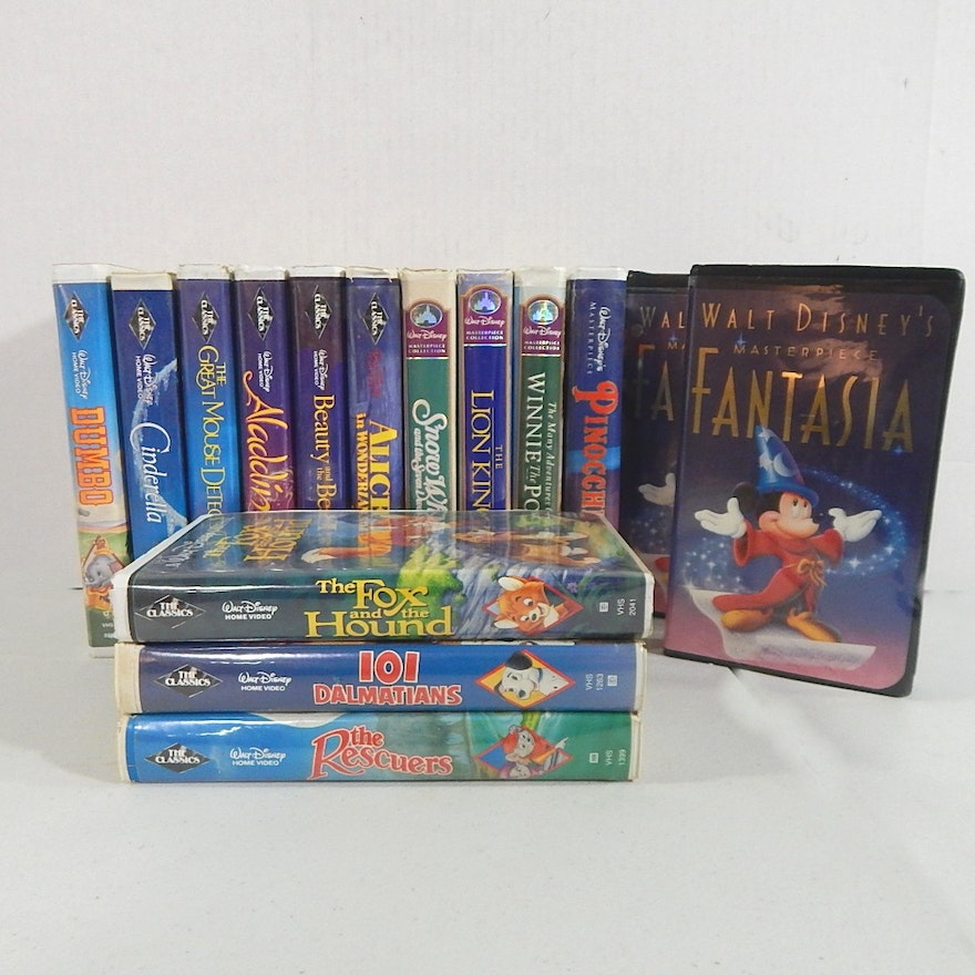 Disney VHS Movies with Black Diamond and Masterpiece Collection