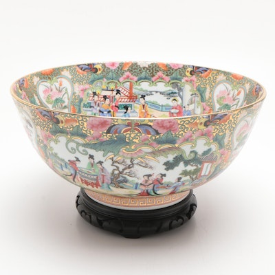 Chinese Rose Medallion Porcelain Serving Bowl on Wooden Stand