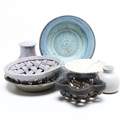 Mary Lucas Ceramic Bowls with Other Art Studio Pottery, Mid to Late 20th Century