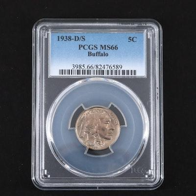 PCGS Graded MS66 1938-D/S Buffalo Nickel