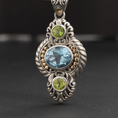 Robert Manse Sterling Silver Topaz and Peridot Pendant and 18K Gold Accents