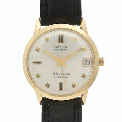 Vintage Gruen Precision 14K Yellow Gold Automatic Wristwatch