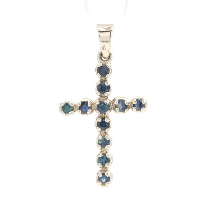 14K White Gold Blue Sapphire Cross Pendant