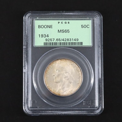 PCGS Graded MS65 1934 Daniel Boone Commemorative Silver Half Dollar