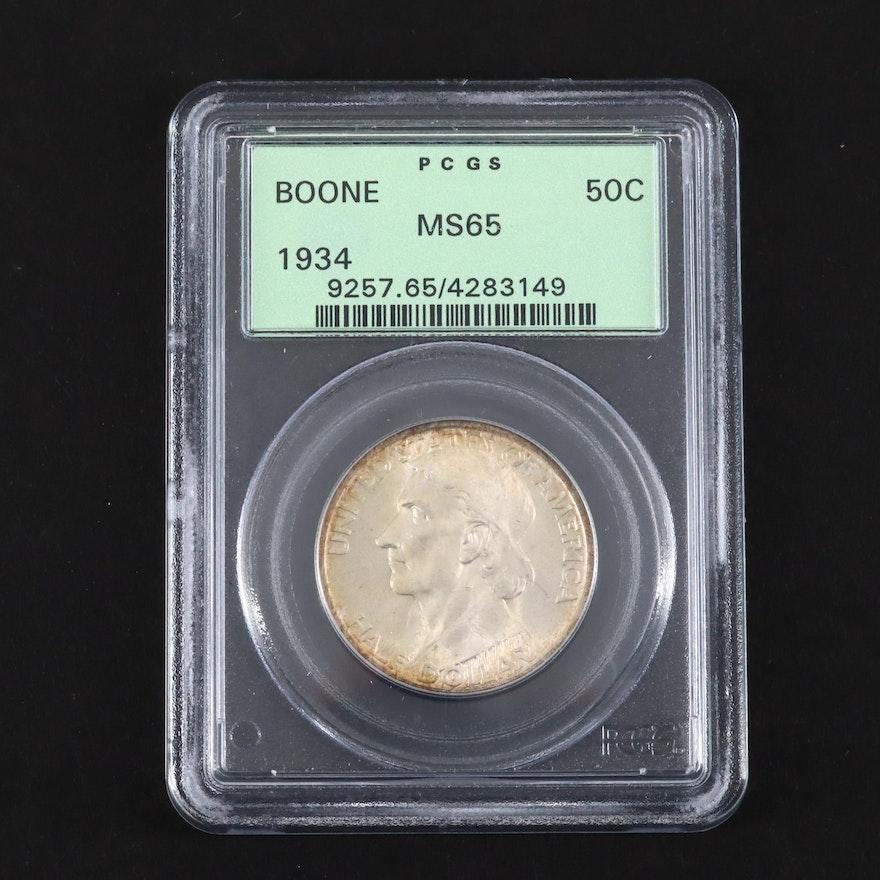 PCGS Graded MS65 1934 Daniel Boone Commemorative Silver Half Dollar