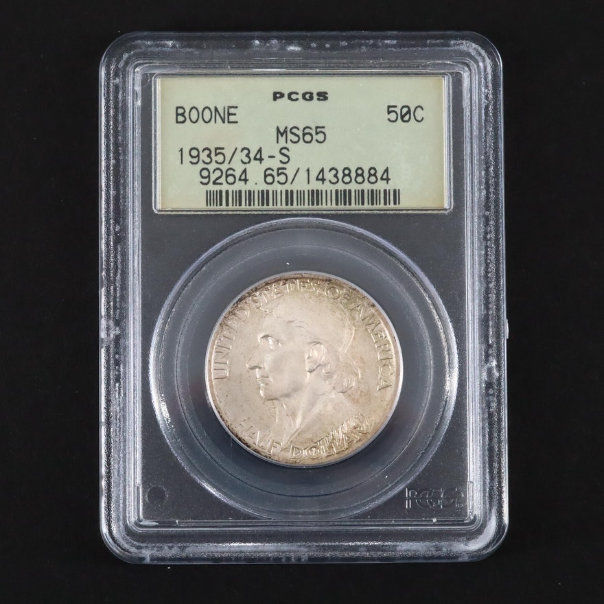 PCGS Graded MS65 1935/34-S Daniel Boone Commemorative Silver Half Dollar