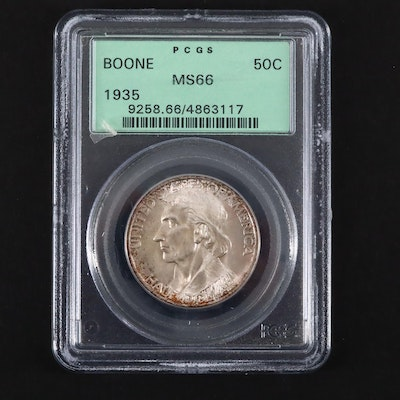 PCGS Graded MS66 1935 Daniel Boone Commemorative Silver Half Dollar
