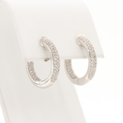 10K White Gold Diamond Inside Out Pave Hoop Earrings