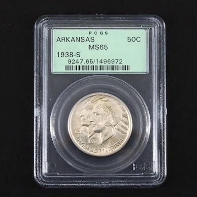 PCGS Graded MS65 1938-S Arkansas Commemorative Silver Half Dollar