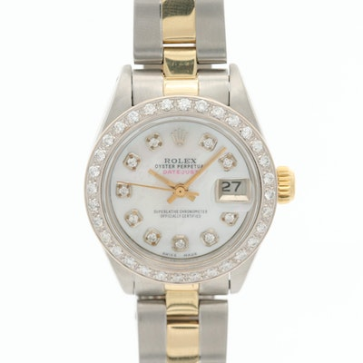 Rolex Datejust 14K and Stainless Steel Wristwatch With Diamond Bezel and Dial