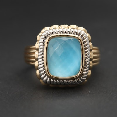 14K Yellow Gold Turquoise and Quartz Doublet Ring with Rhodium Accents