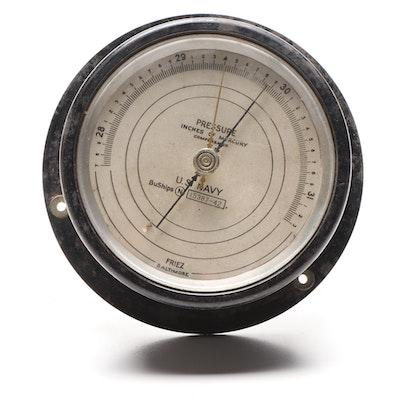 WWII Era Friez U.S. Navy Barometer