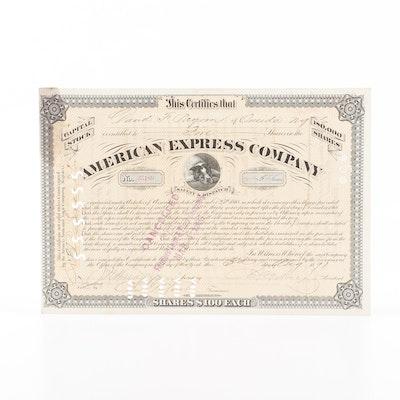 1891, J. C. Fargo Signed American Express Company Stock Certificate