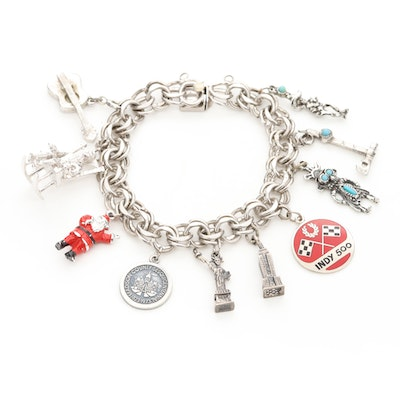 Sterling Silver Charm Bracelet with Charms, Turquoise and Enamel