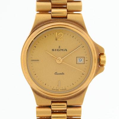 Swiss Sigma Gold Tone Quartz Wristwatch With Date