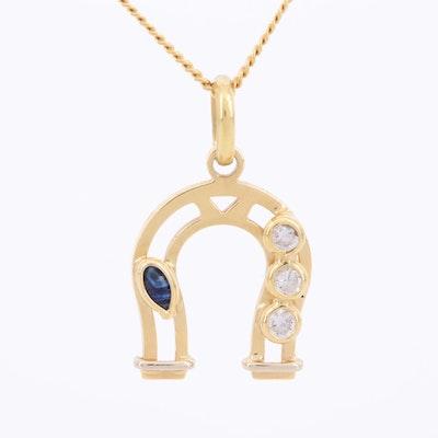 18K Yellow Gold, Diamond and Sapphire Lucky Horseshoe Pendant Necklace