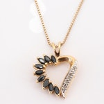 Gold Wash Over Sterling 1.08 CTW Sapphire and Diamond Heart Pendant Necklace