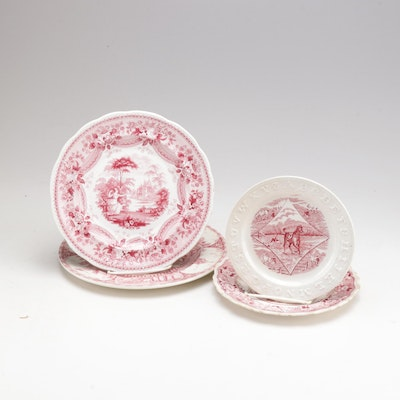 Red Transferware Plates Featuring Adams Staffordshire Ware