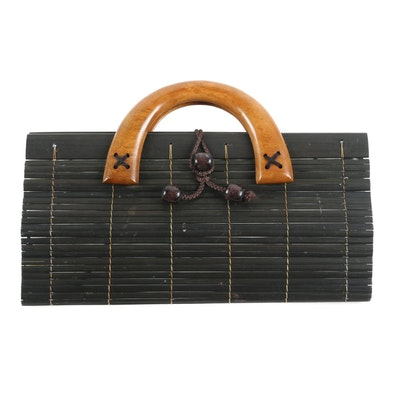 Bamboo Bag with Mango Wood Handles and Coconut Button Closure, Thailand
