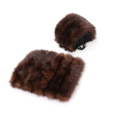 Sable Fur Muffs with Black Satin Lining, Vintage