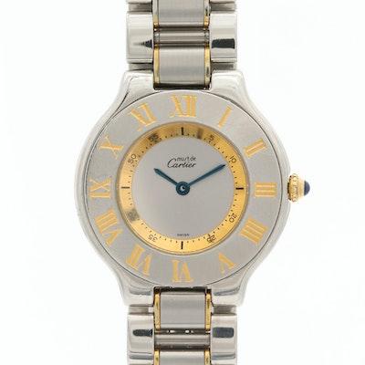 Cartier Must de Cartier 21 Stainless Steel and 18K Gold Wristwatch