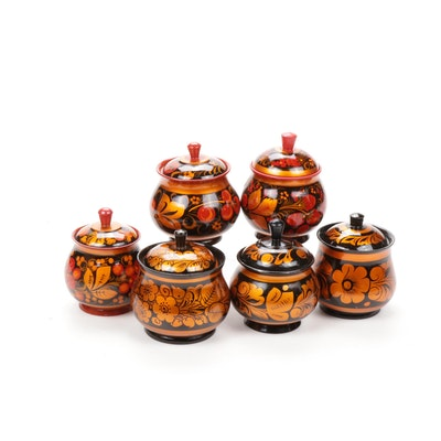 Russian Khokhloma Lidded Jars