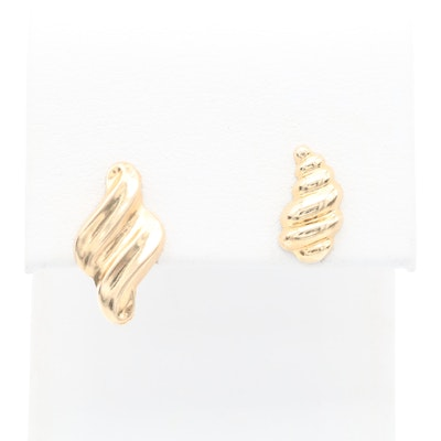 Mismatched 14K Yellow Gold Earrings