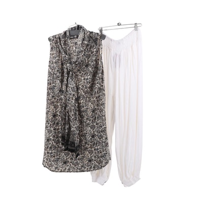 Aller Simplement Paisley Tunic with Scarf and Cream Harem Pants