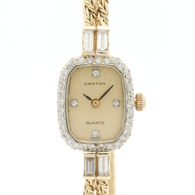 Vintage Croton 14K Yellow Gold Diamond Wristwatch