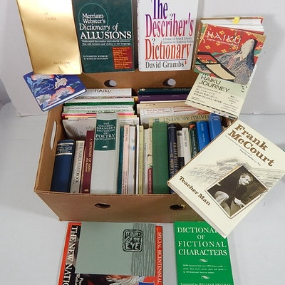 Large Box of Books with Meditation, Language, Dictionaries, Haiku, Other Poetry