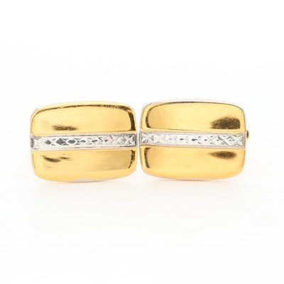 Gold Tone Textured Cufflinks with Sterling Silver Accents