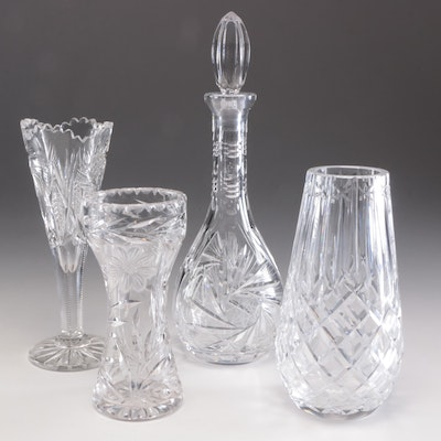 Crystal Vase, Brilliant Cut Glass Vases, and Brilliant Cut Glass Decanter