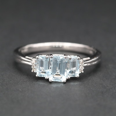 10K White Gold Aquamarine Three Stone Ring with Diamond Accents