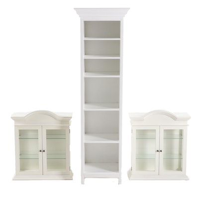 The Bombay Company Painted Bookcase and Wall Cabinets