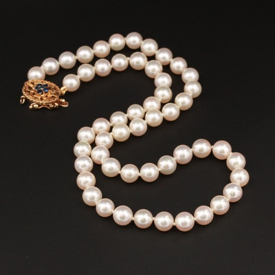 14K Yellow Gold Cultured Pearl Necklace With Blue Sapphire Accented Clasp