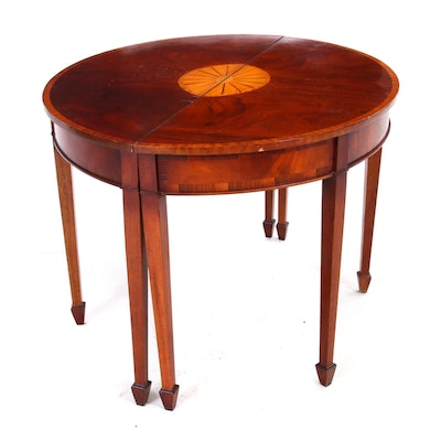 Mahogany Demilune Accent Tables, Pair