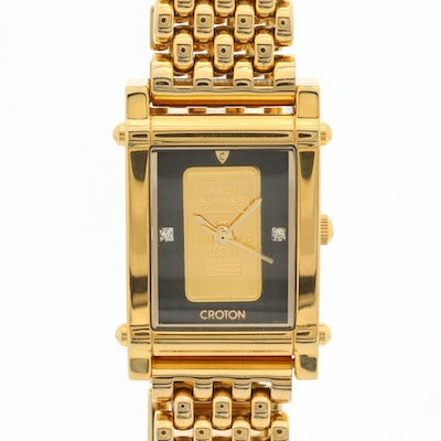 Croton Gold Ingot Dial Quartz Wristwatch