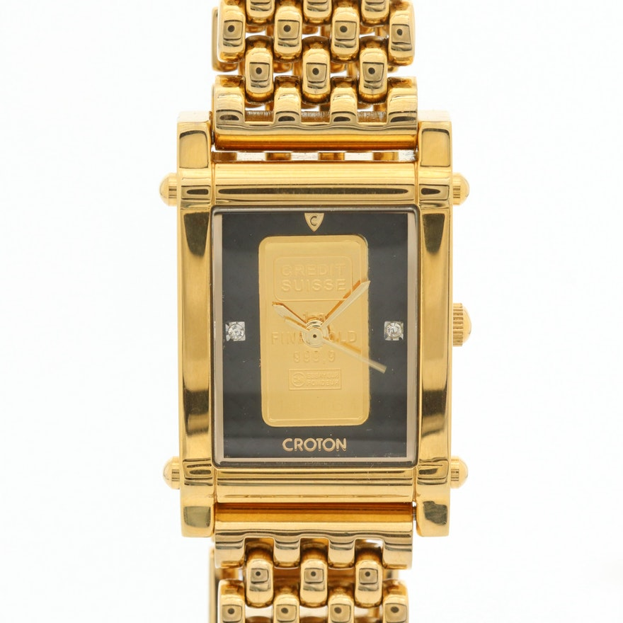 Croton Gold Ingot Dial Quartz Wristwatch