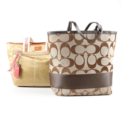 Coach Hampton Gold Sateen Tote and Coach Signature Stripe Reversible Tote