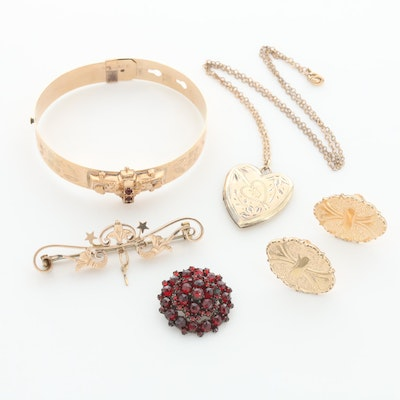 Victorian and Vintage Gold Tone Jewelry Including Garnet Accents