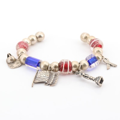 Sterling Silver and Glass Bead Cuff Charm Bracelet