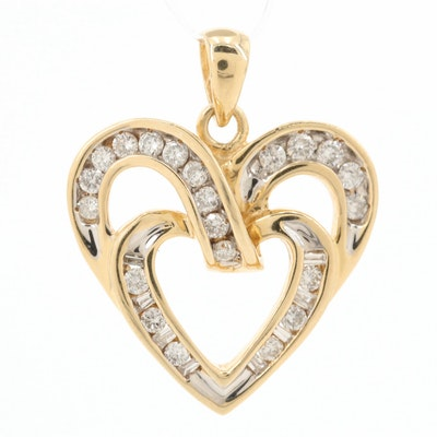14K Yellow Gold Diamond Double Heart Pendant