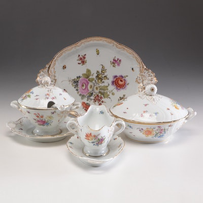 Dresden Style and Other Porcelain Serveware with Floral Motifs, Antique