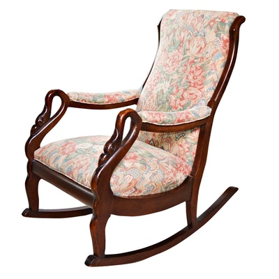 Ladies Mahogany Swan Neck Rocking Chair, Vintage